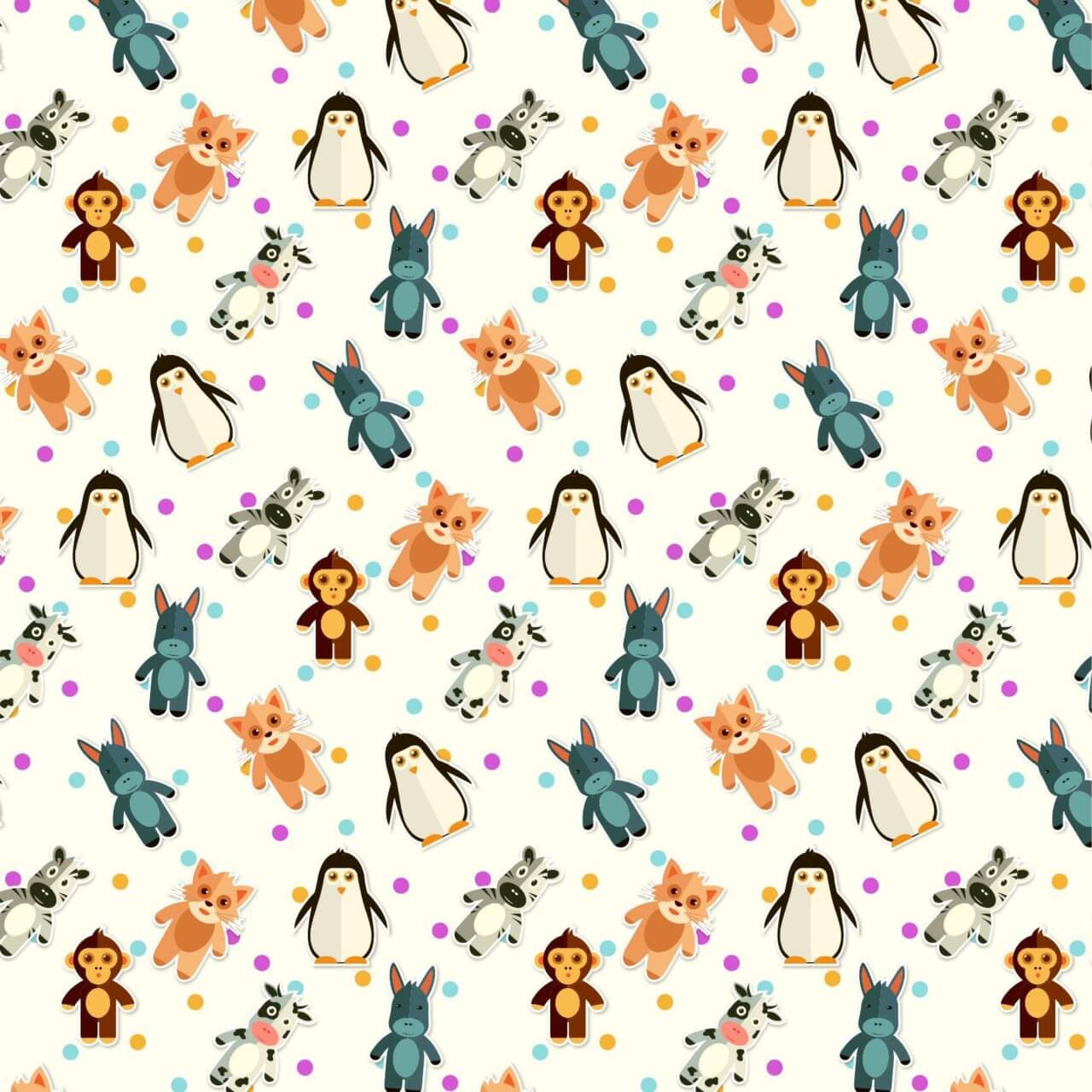 "Free vector ""Pattern With Cute Animals"""