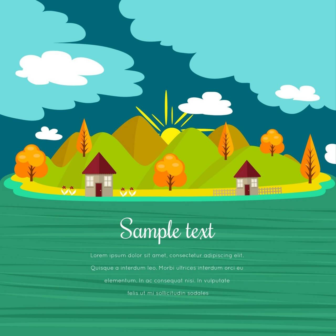 "Free vector ""Summer illustration with mountain landscape"""