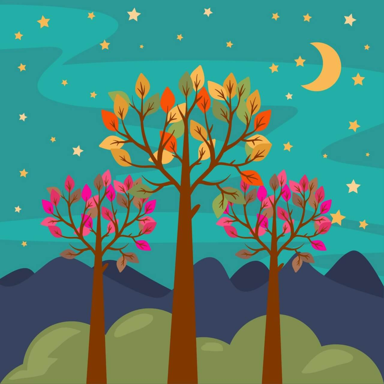 """Free vector """"Night forest landscape"""""""