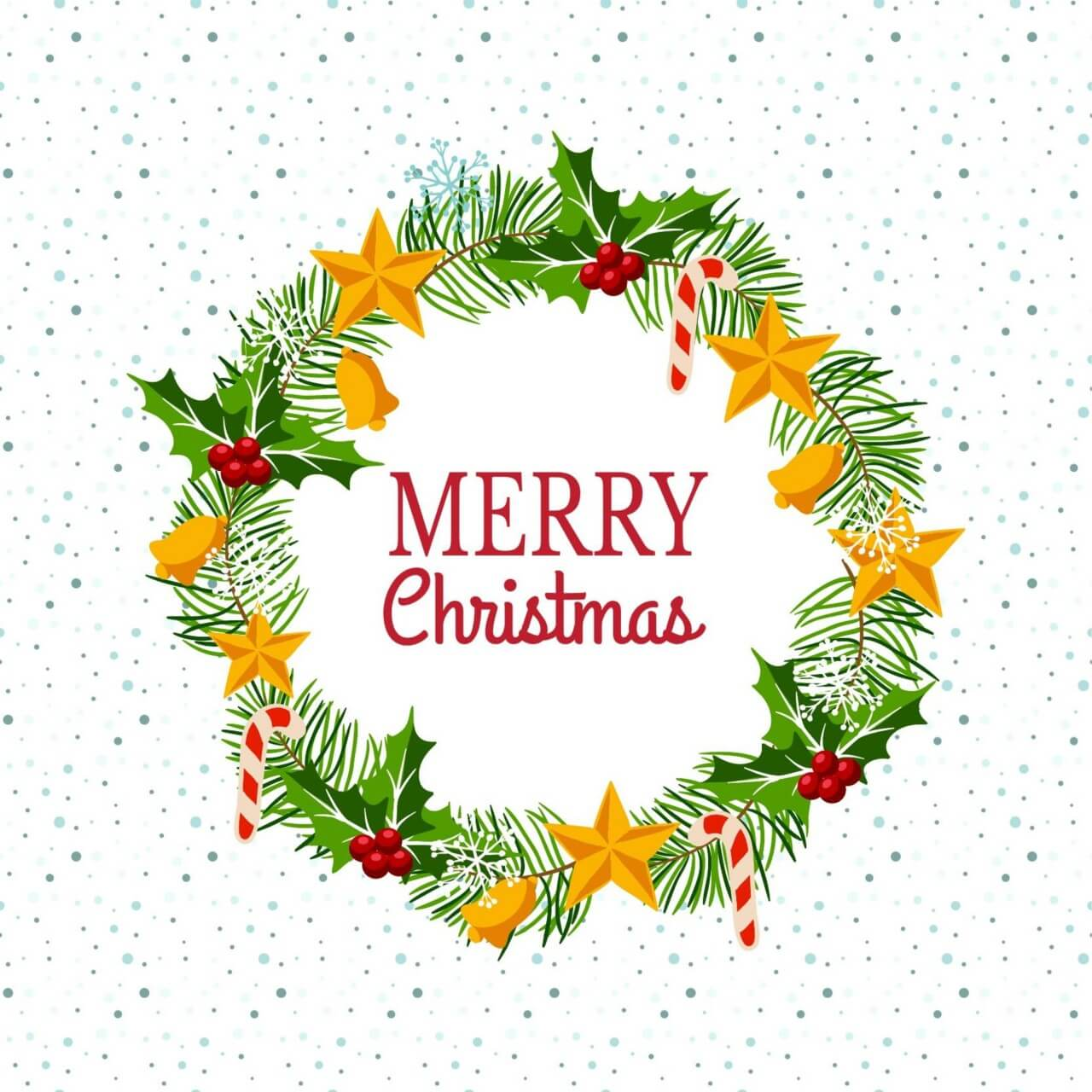 "Free vector ""Christmas wreath on snowy background"""