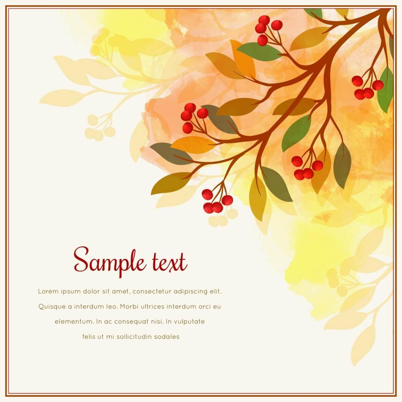 """Free vector """"Autumn card with tree branch"""""""