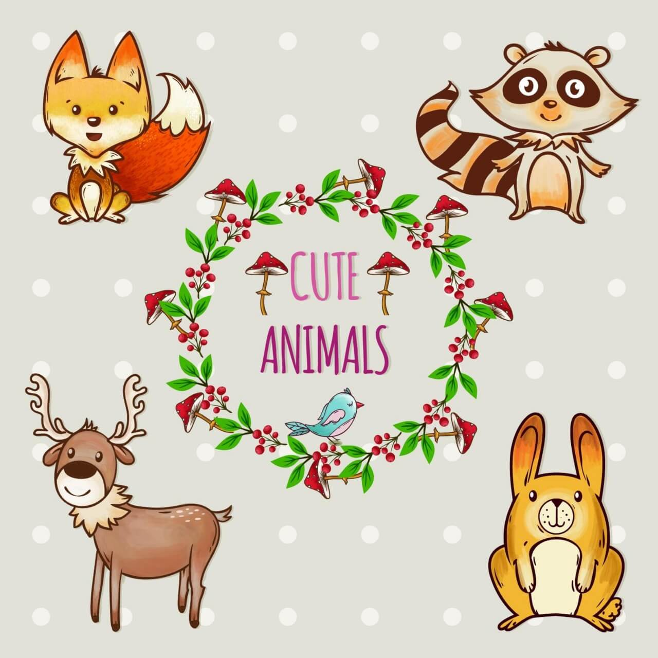 "Free vector ""Cute set of animals with frame"""