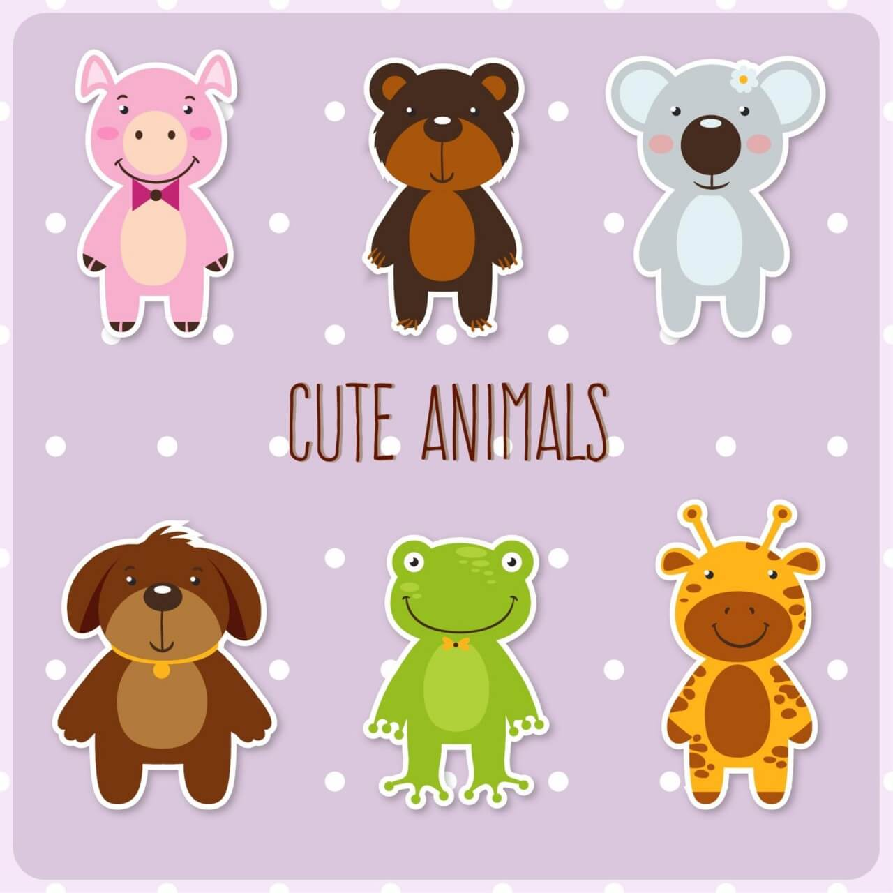 "Free vector ""Cute set of animals"""