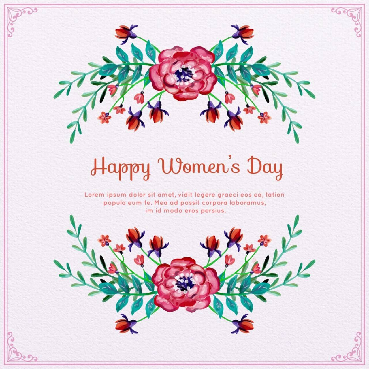 """Free vector """"Watercolor Women's Day Floral Frame """""""