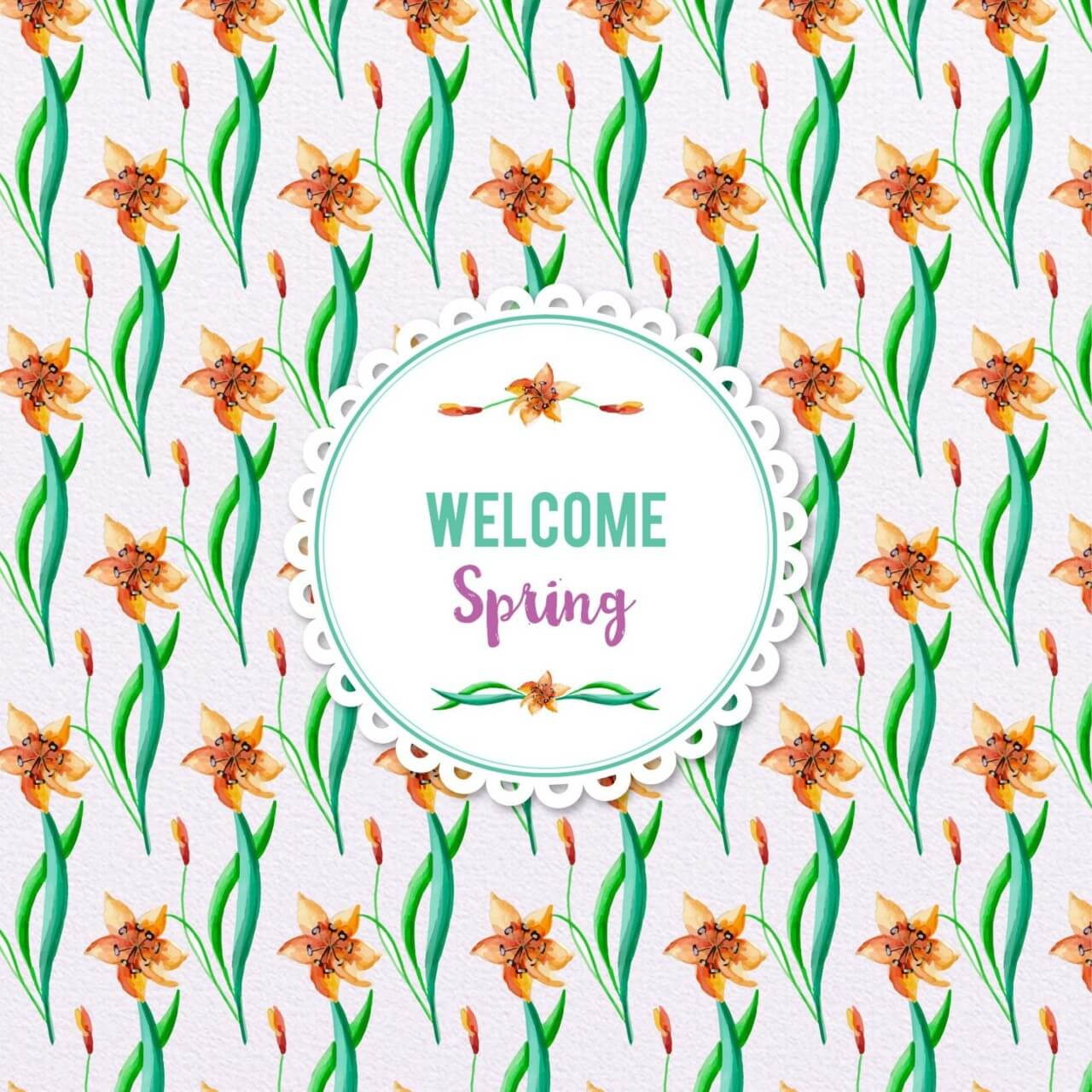 "Free vector ""Spring Watercolor Floral Pattern"""