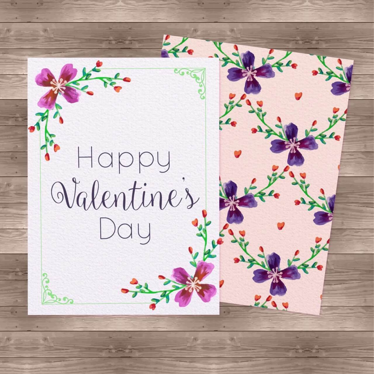 """Free vector """"Watercolor Valentine'Day Cards"""""""