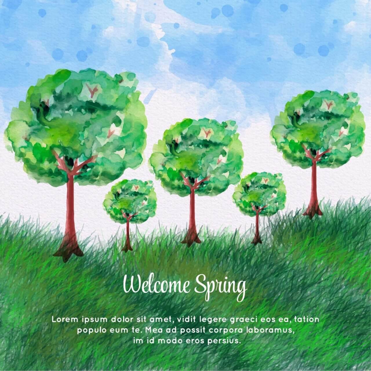 """Free vector """"Watercolor Spring Landscape"""""""