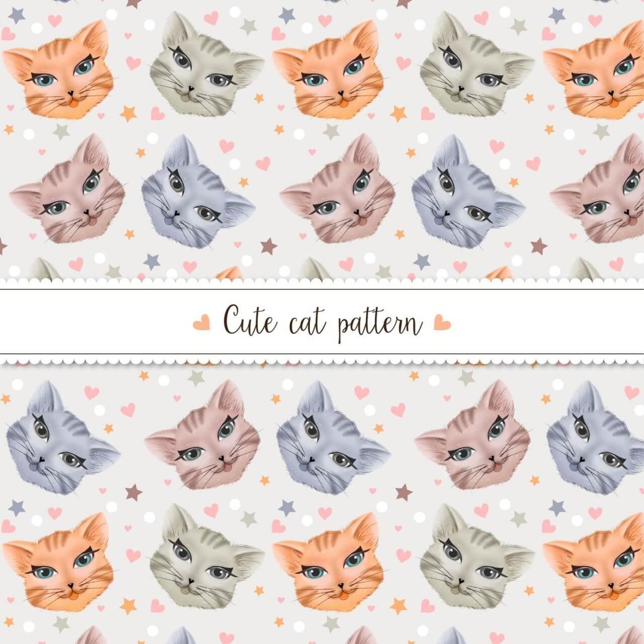 """Free vector """"Cute cat pattern"""""""