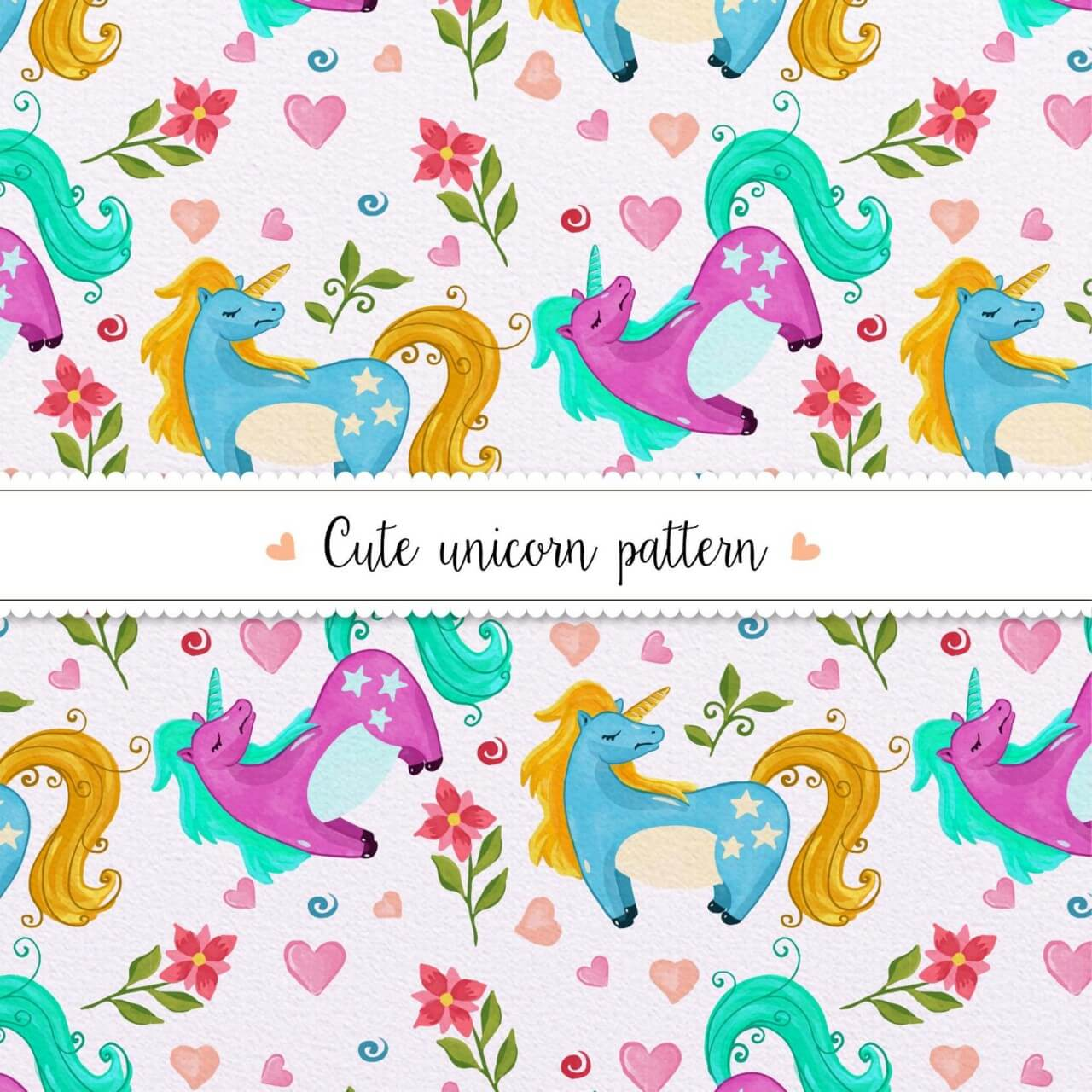 "Free vector ""Watercolor unicorn pattern"""