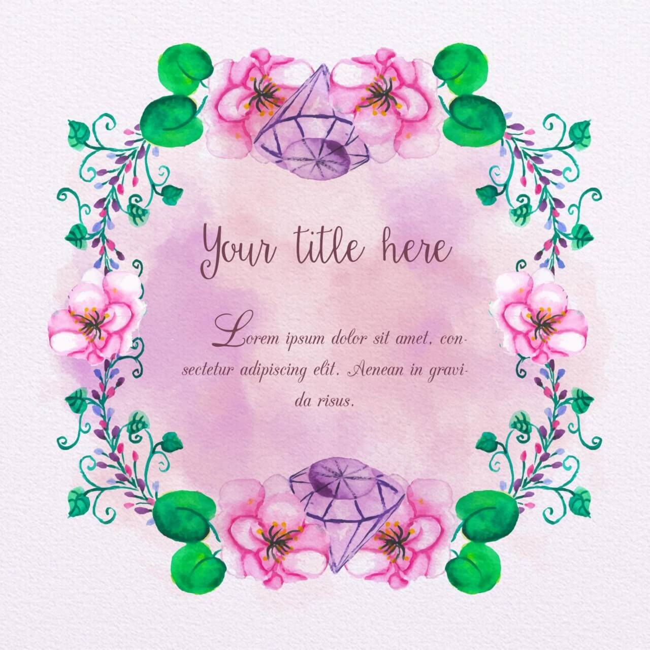 "Free vector ""Watercolor frame with diamonds"""