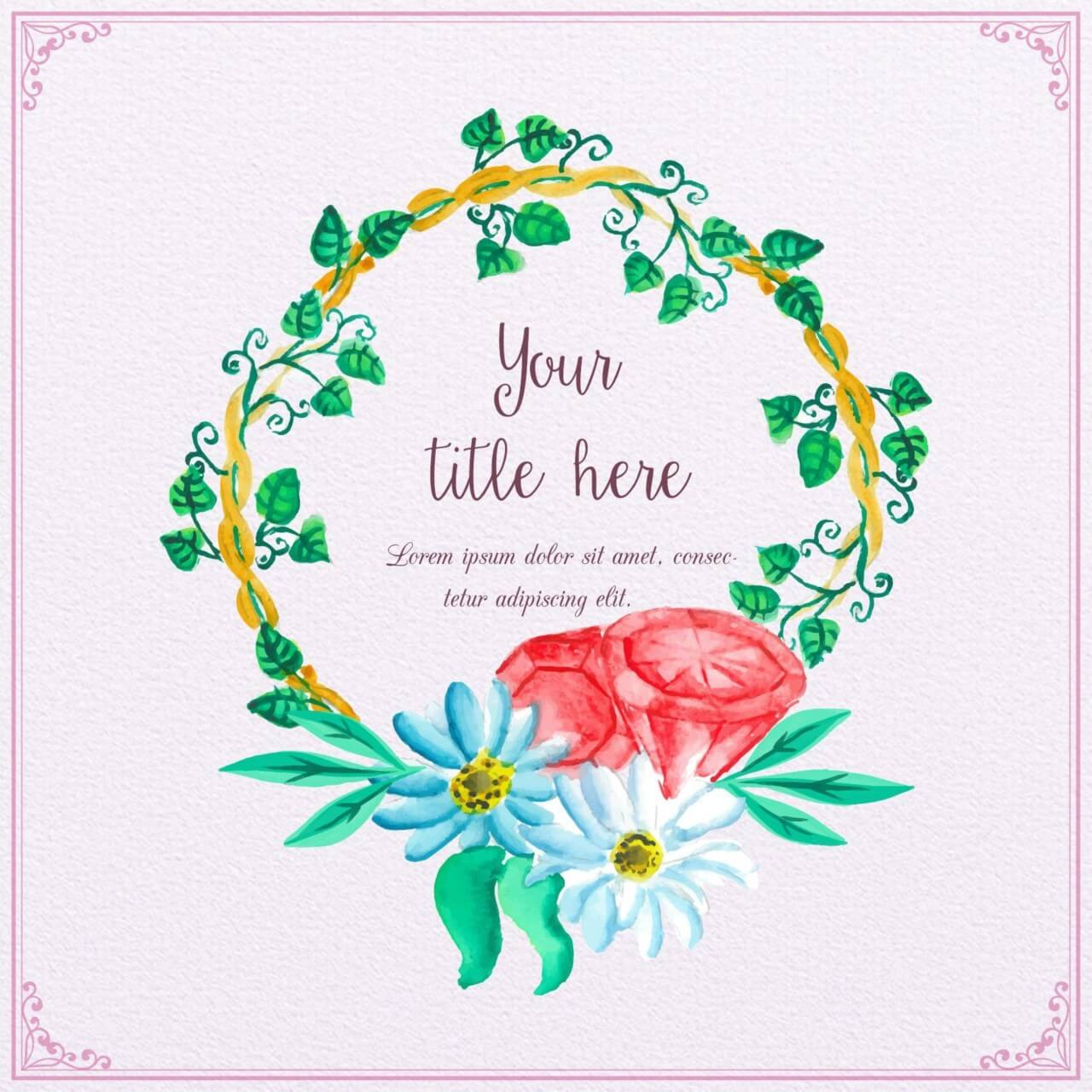 "Free vector ""Watercolor frame with diamons"""