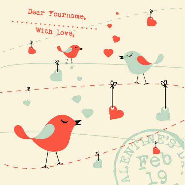 Valentines Card Background with Birds vector