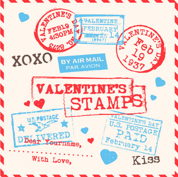 Various Valentines Stamps Background vector