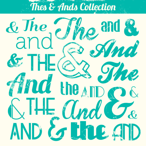 Various Vintage Thes & Ands Collection vector