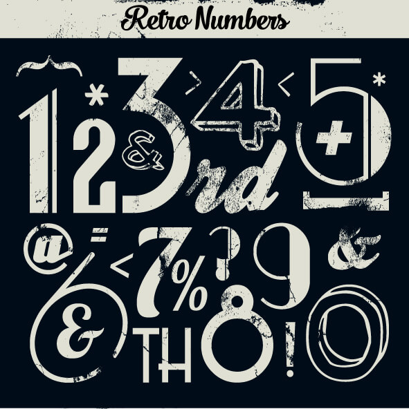 Various Vintage Number Collection vector