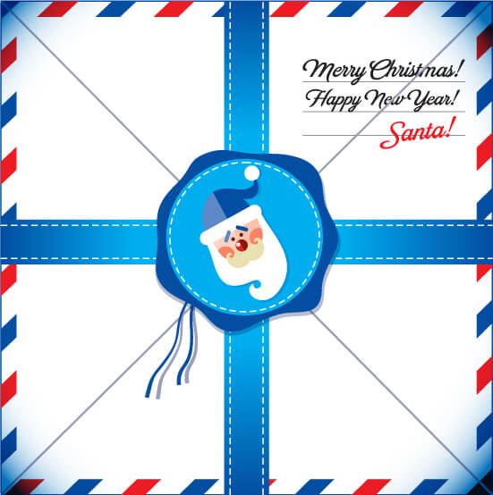 New Year Card. Letter to Santa. vector