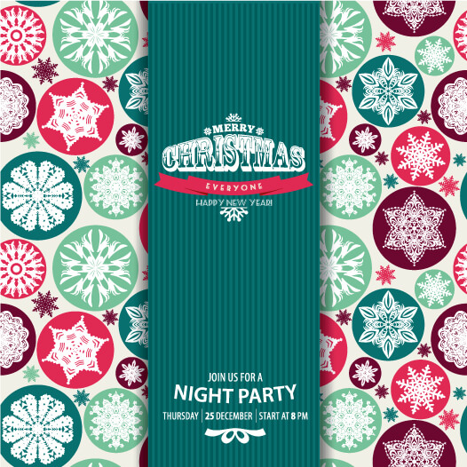 Christmas snowflake pattern. Invitation card. vector