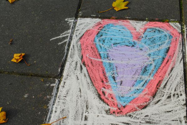 Heart from crayon photo