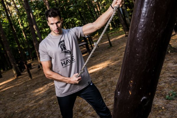 Mens workout in the forest photo