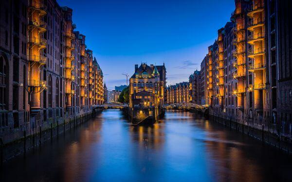 Hamburg Germany Canal Night Time Romantic Sunset photo