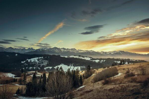 Mountain Snow Peak Evening Sunset Clouds Valley photo