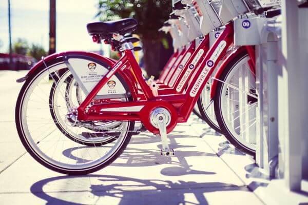 Red Bike Public Transportation Shadows Nashville Tennessee photo