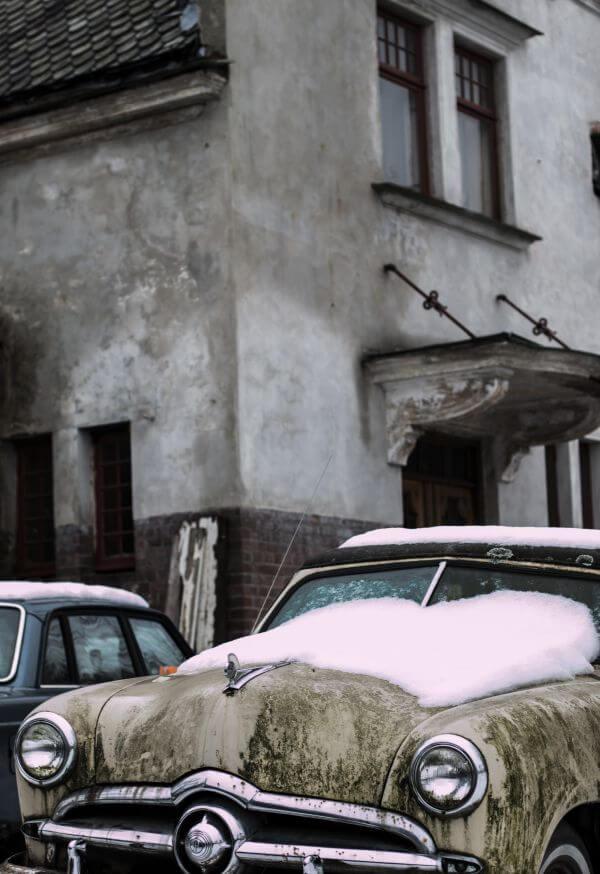 – Old Car Grey Snow Chrome Grill photo