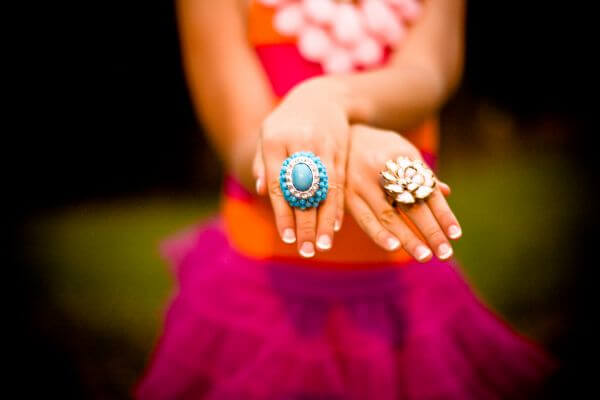 Girl Tutu Pink Orange Turquoise Rings Hands photo