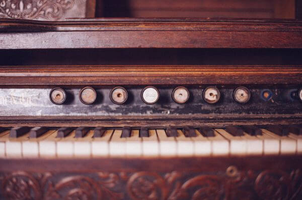 Old Organ Piano Black and White Keys Vintage Wood Rustic photo