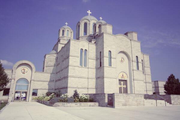 St. Sava Serbian Orthodox Church Merrillville Indiana Blue Sky Crosses photo