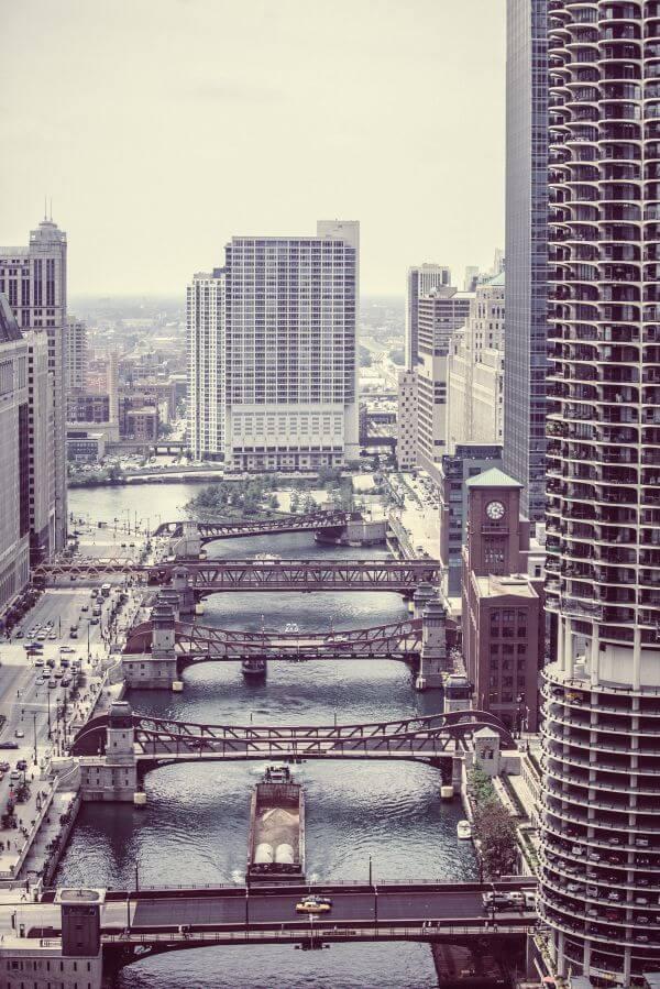 Wacker Drive Downtown Chicago River photo