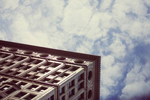 Chicago Gothic Architecture Against Blue Skies photo