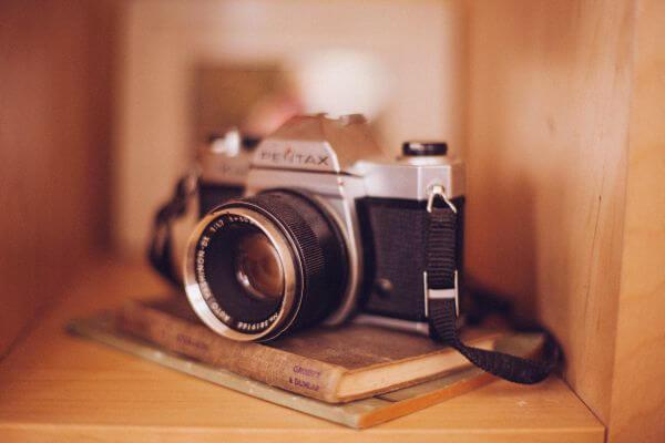Old Vintage Camera Books Shelf Case Tan Brown 3 photo