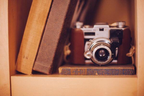 Old Vintage Camera Books Shelf Case Tan Brown photo