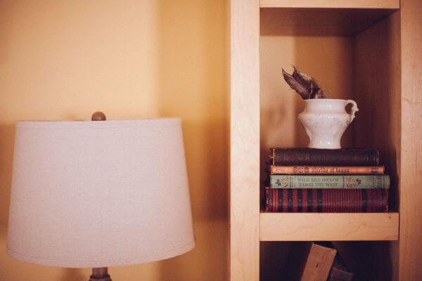 Old Vintage Books Case Wood Shelf Ikea Lamp photo