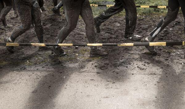 Running in the mud photo