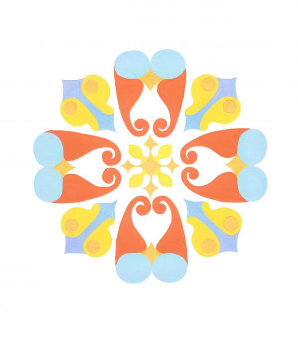 Oriental ornament. Painted in gouache. Symmetric image. Isolated white. photo