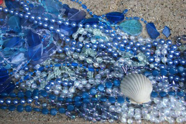 blue beads and glass with shell photo