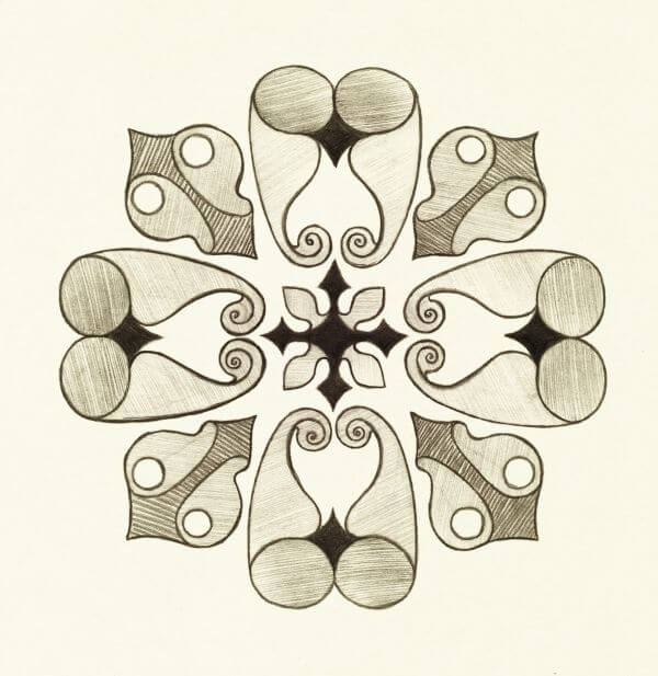 Oriental ornament drawn by pencil. Symmetric decor. photo