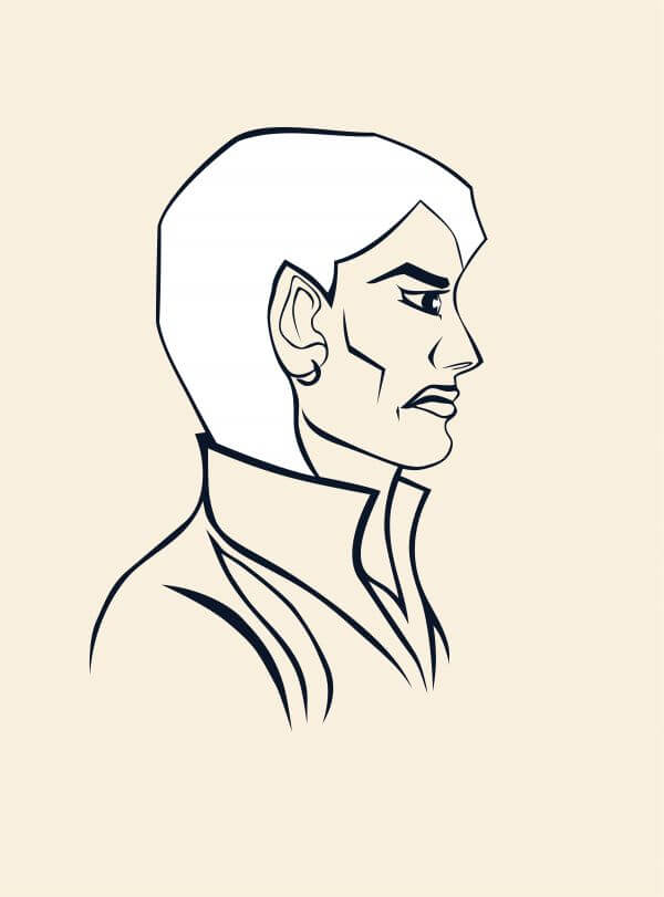 Beautiful evil young woman. Angry facial expression. Jacket with a high collar. Portrait in profile made in graphic linear style. Vector simple image. photo