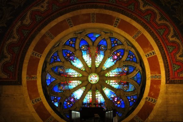 round stained glass window photo