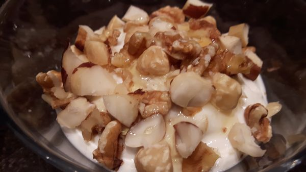 Quark with nuts and honey photo