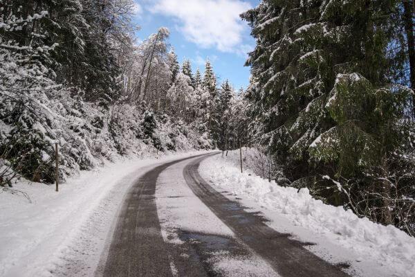 Snow road corner photo