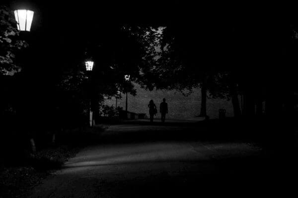Walking in the night photo