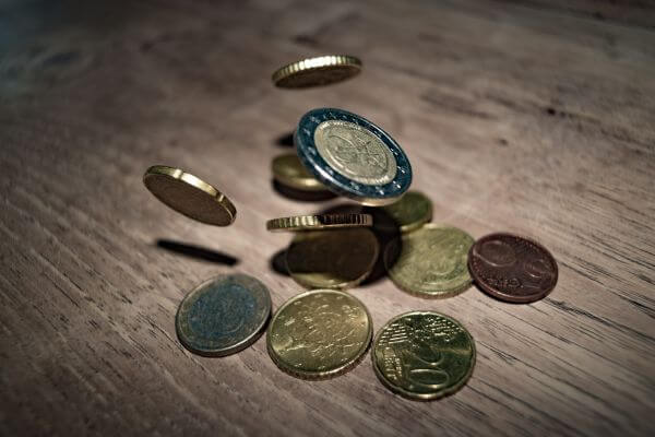 Falling Euro coins photo