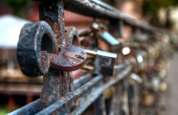 Locks on a bridge photo