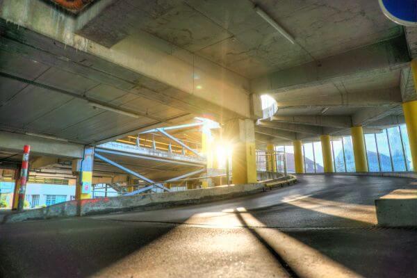 Sun hits parking garage photo