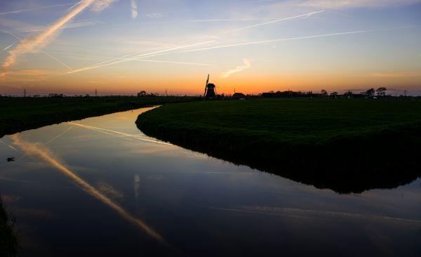 Mill at sunset photo