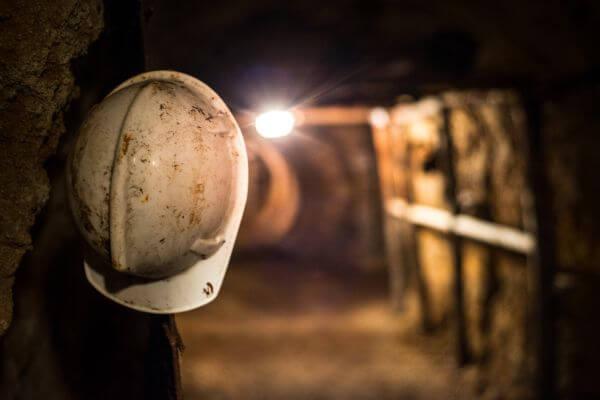 Helmet in a mine photo