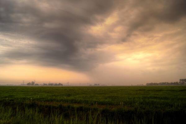 Sunny and rainy dutch landscape photo